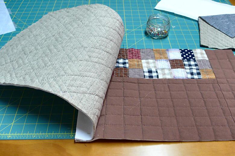 Laterales bolso de patchwork gris